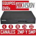 EQUIPOS DVR HIKVISION 4 8 16 24 Y 32 CANALES